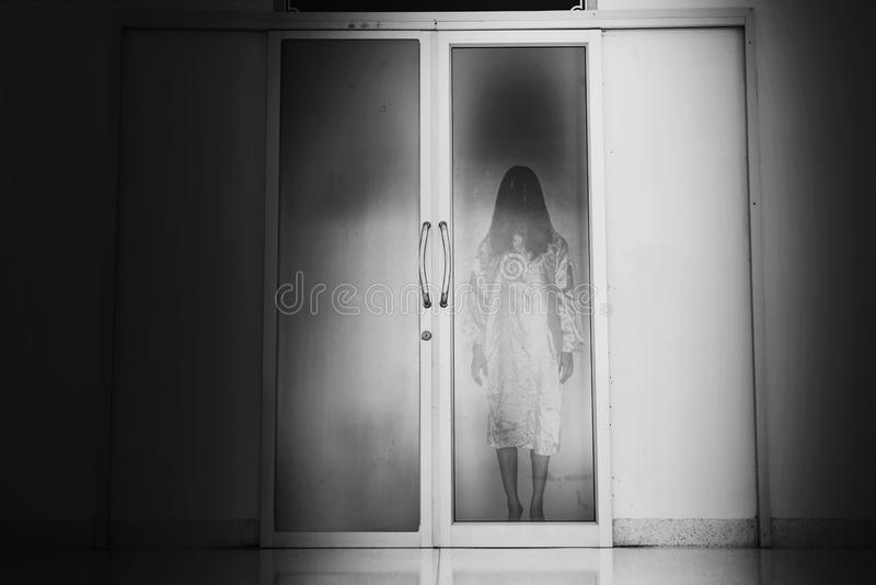 Horror woman stand at Closed Mirror doors royalty free stock images