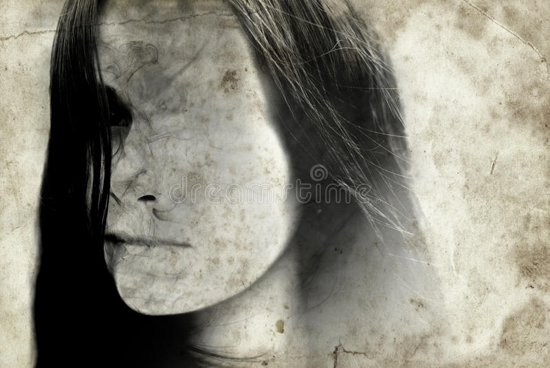 Horror Woman Vintage. Old photo in horror style of woman royalty free stock photo