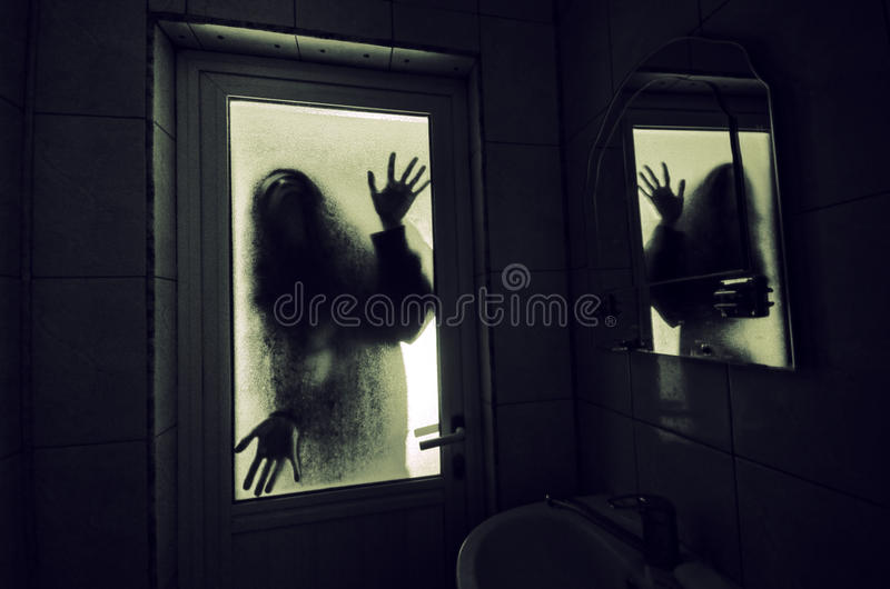 Horror Woman In Window Wood Hand Hold Cage Scary Scene