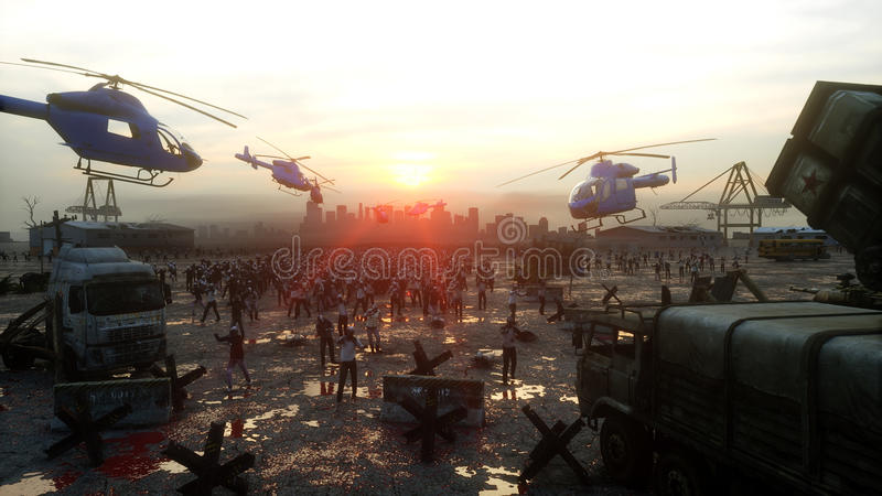 Horror zombie crowd walking. Apocalypse view, concept. 3d rendering. vector illustration