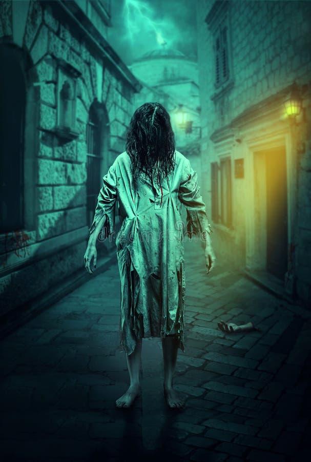 Horror zombie on the street. Halloween. stock photography