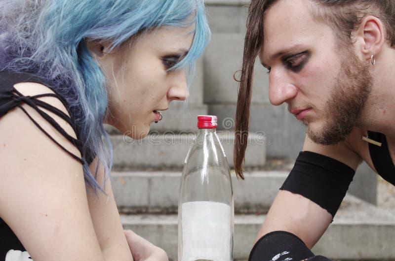 Horrorpunk couple stock photos