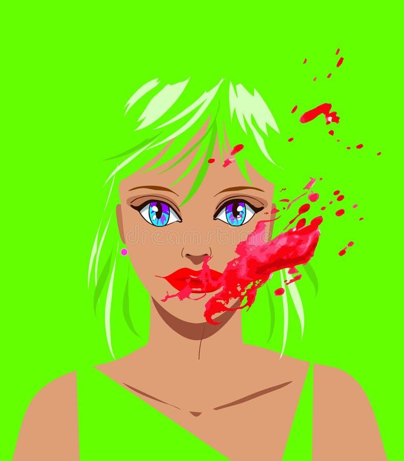 Horroru błazenu kobiety piękny wektor ilustracji