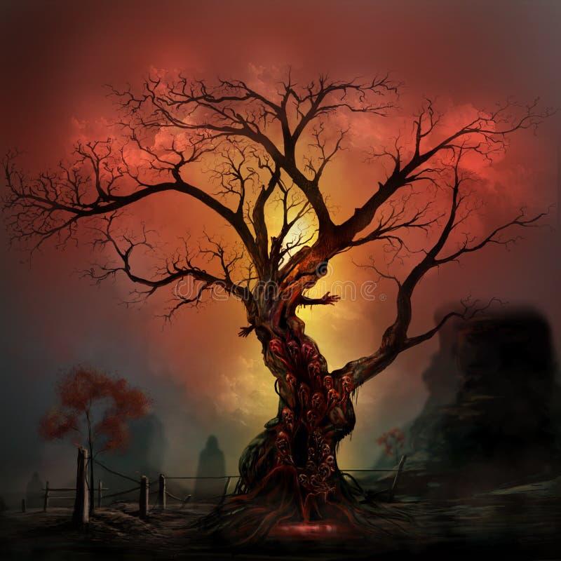 Horroru drzewo ilustracja wektor