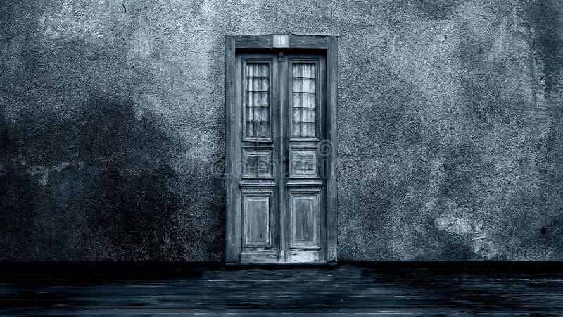 Horroru tło - drzwi obraz royalty free
