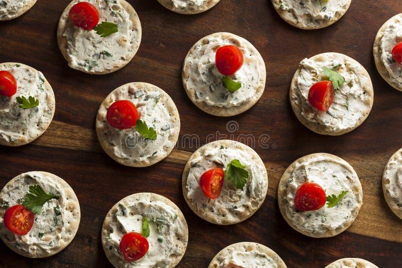 Hors-d'oeuvre de biscuit et de fromage photos stock