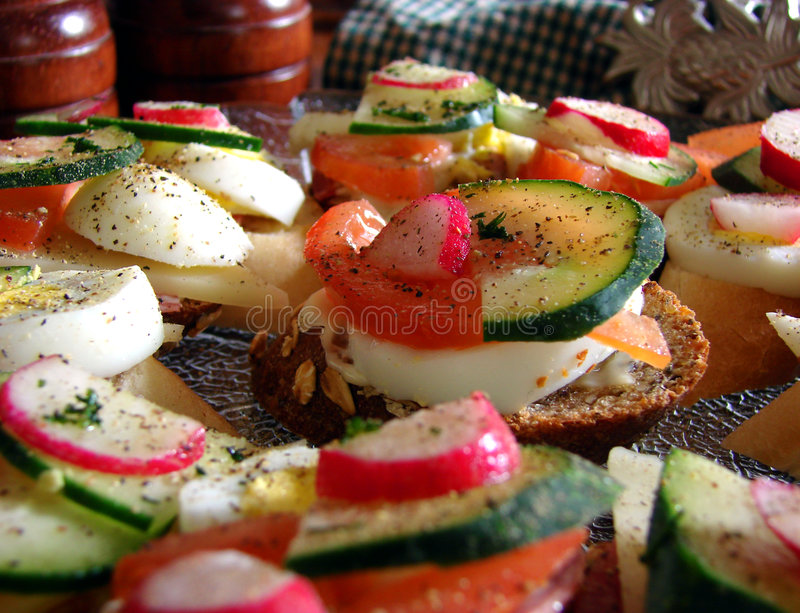 Hors D Oeuvres Amuse Bouche Sandwiches Stock Photography