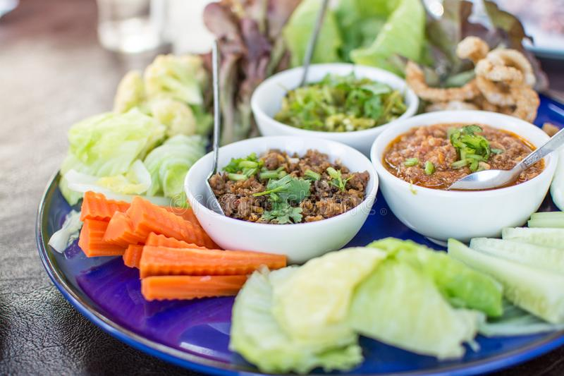 Hors d`oeuvres of Northern traditional Thai food stock photography