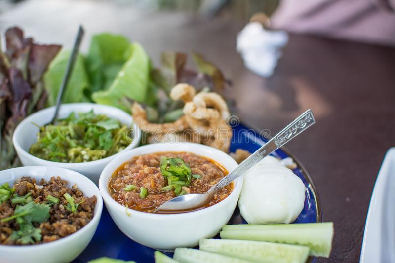 Hors d`oeuvres of Northern traditional Thai food stock image