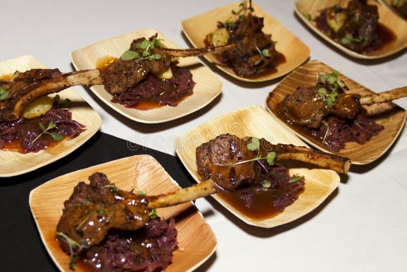 Hors doeuvres和肉快餐 库存图片