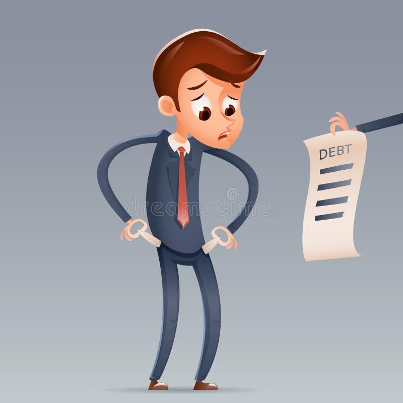 Hors du caractère triste d'Empty Pockets Cartoon d'homme d'affaires de dette d'argent regardant le concept de Bill Icon Retro Car illustration de vecteur