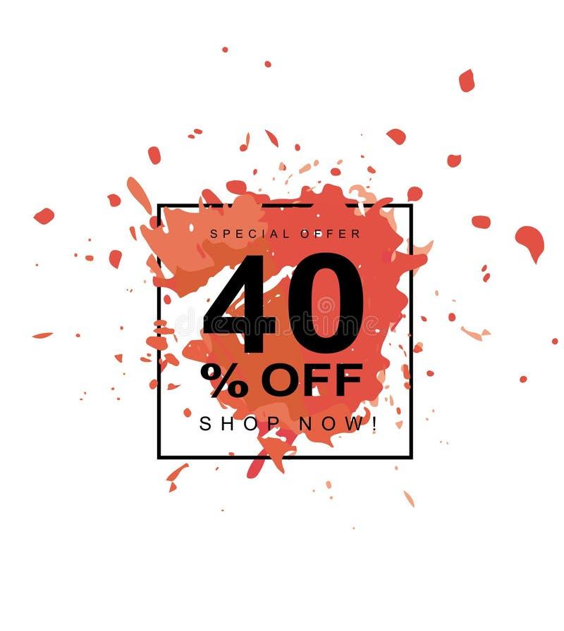 40% hors fonction Symbole de vecteur de remise Éclaboussure rouge dans un cadre noir illustration stock