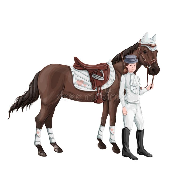 Free Horse And Rider Girl Woman In Ammunition For Jumping - Saddle, Cap, Bridle, Halter, Wagtrap, Stamping, Boots, Cylinder Stock Photo - 112827840