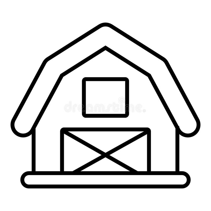 Horse barn icon , outline style stock illustration