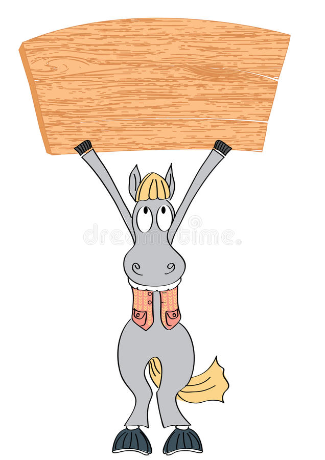 Horse and board on white royalty free stock photos