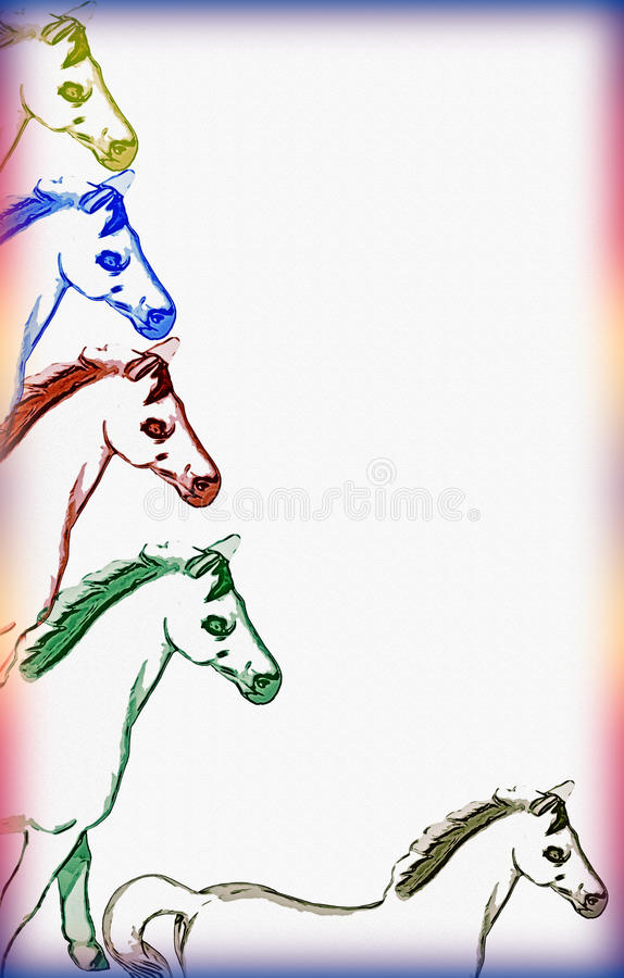 Download Horse Border On Textured Paper Stock Illustration - Image: 12131775
