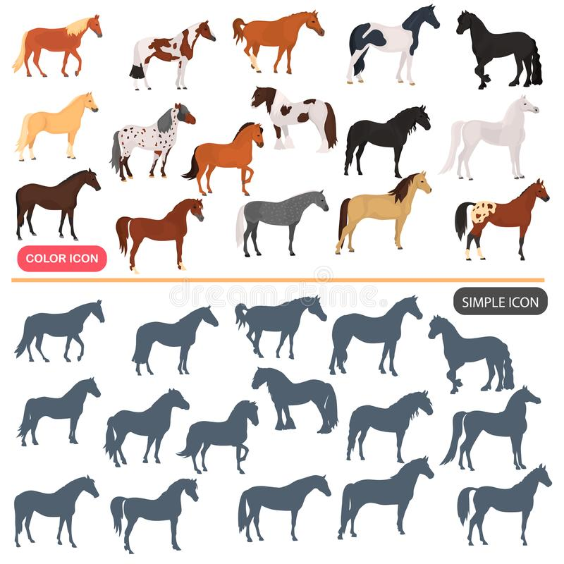Horse breeds color flat icons set. Horse black silhoutte simple icons set royalty free illustration