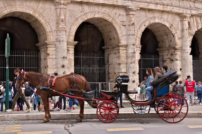 Horse with buggy in front of the colosseum. Driver waiting for t stock image