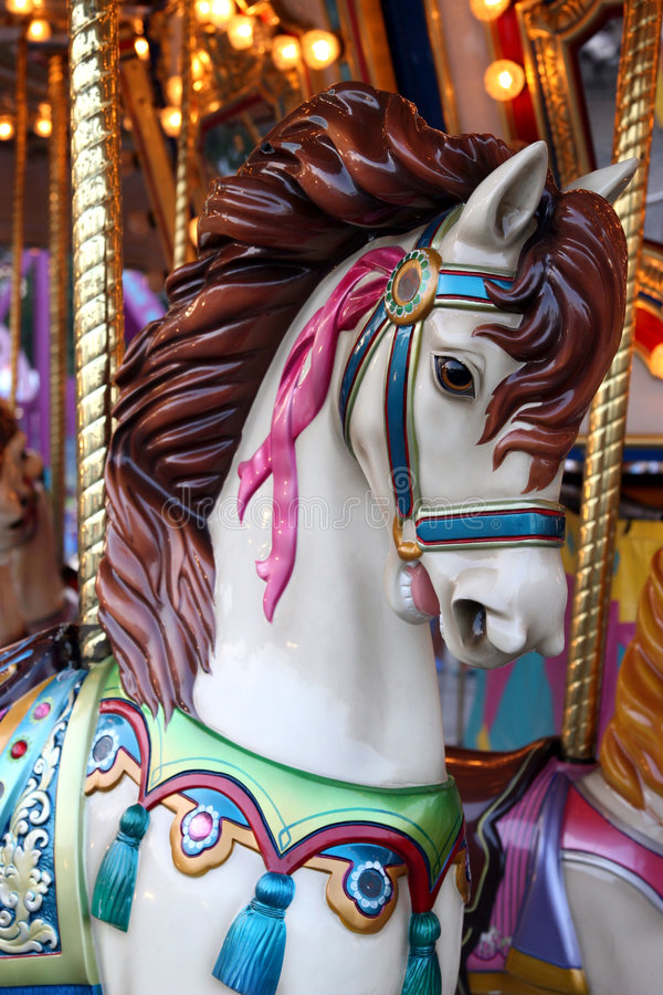 Horse on a carousel royalty free stock photos