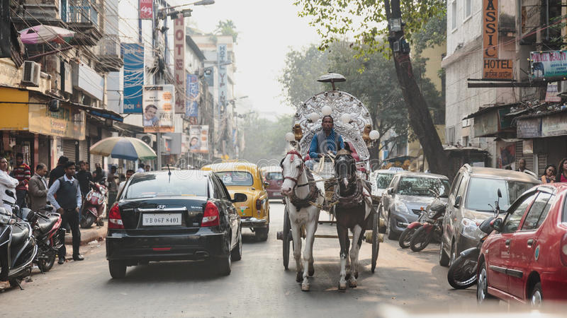 Horse-carriage with cars on the street in Kolkata, India.  stock images