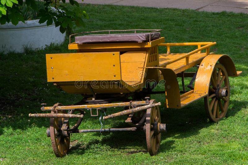 Horse carriage, farm agriculture. Old horse carriage. Carrige for two horses. - image stock photo