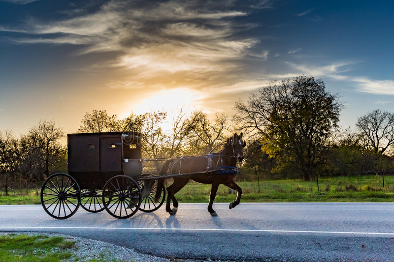 Horse and Carriage on Highway in Oklahoma. Horse and Buggy on a Rural Highway in Oklahoma Amish Country at Sunset royalty free stock photos