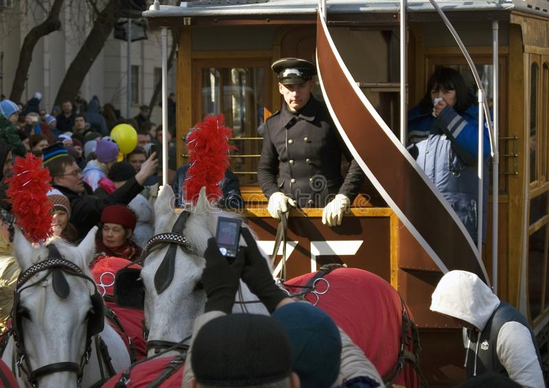Download Horse Carriage At Moscow Tramway Parade - 2017 Editorial Stock Photo - Image of drive, person: 90715483