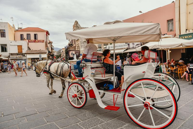 Horse carriage ride Chania royalty free stock photography
