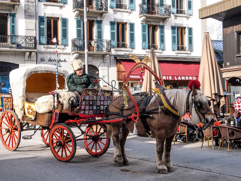 Horse carriage for site seeing service at Chamonix Mont Blanc stock photo