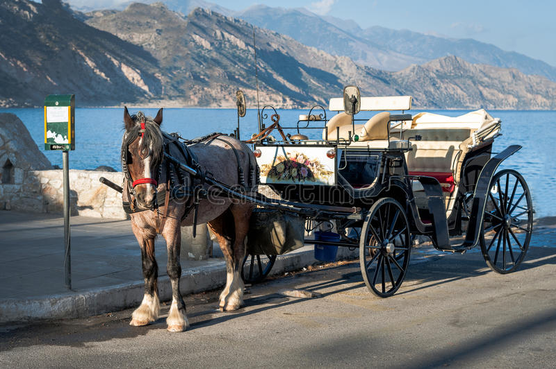 Horse carriage is staying in port of Paleochora town, Crete island, Greece.  stock photo