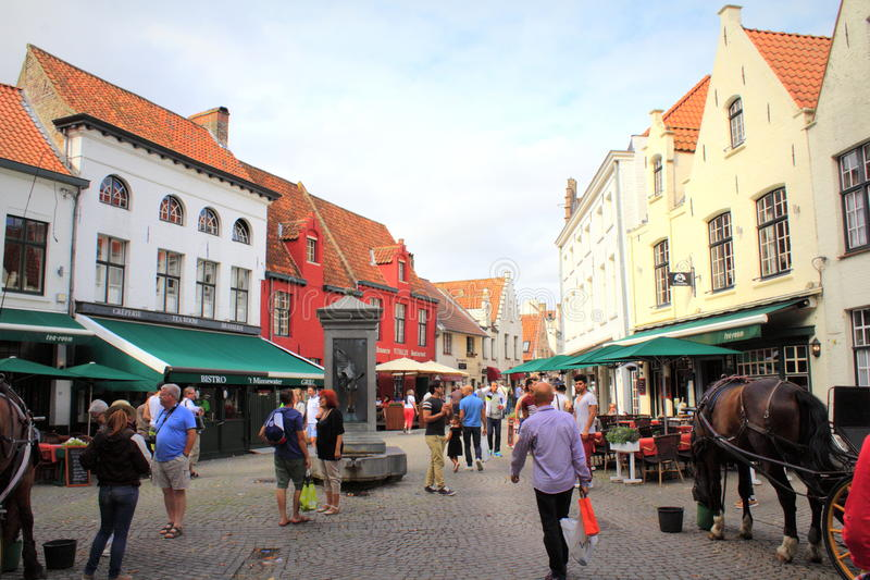 Horse carriage tour in Bruges Belgium royalty free stock photography