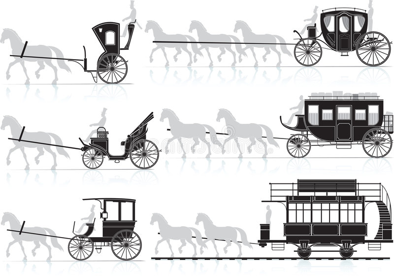 Horse cart. Vector and raster illustration royalty free illustration