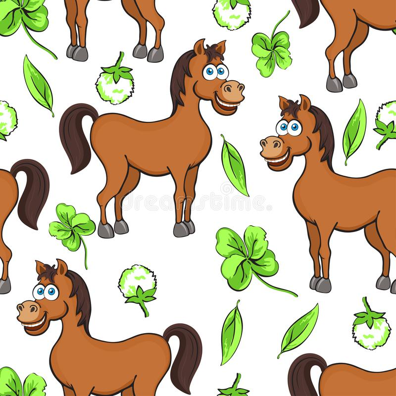 Horse cartoon drawing seamless pattern, vector illustration. Funny cute painted brown horse flowers and clover leaves on white bac royalty free illustration