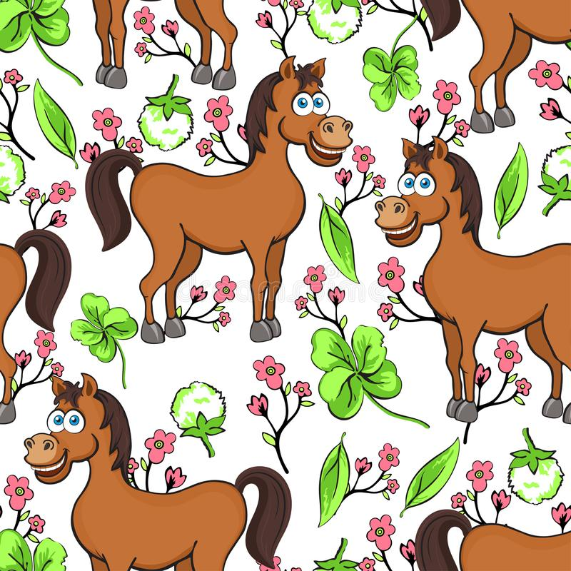 Horse cartoon drawing seamless pattern, vector illustration. Funny cute painted brown horse, pink flowers and clover leaves on whi vector illustration