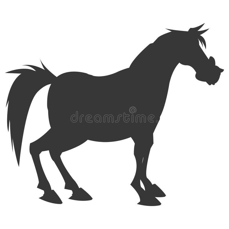 Horse cartoon silhouette icon. Simple flat design horse cartoon icon illustration vector illustration