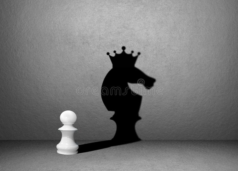 Horse chess shadow on wall, winner stock image
