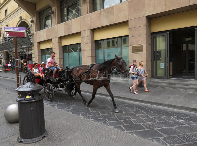 Horse coach carriage. FLORENCE, ITALY - CIRCA JULY 2016: horse coach four wheel carriage with tourists royalty free stock photography