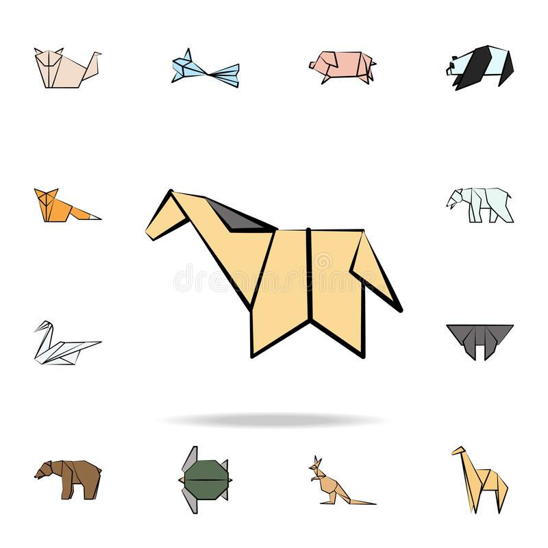 Horse colored origami icon. Detailed set of origami animal in hand drawn style icons. Premium graphic design. One of the. Collection icons for websites, web vector illustration