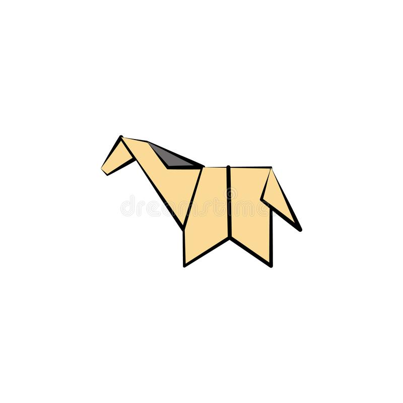 horse colored origami style icon. Element of animals icon. Made of paper in origami technique vector Illustration horse icon can b stock illustration