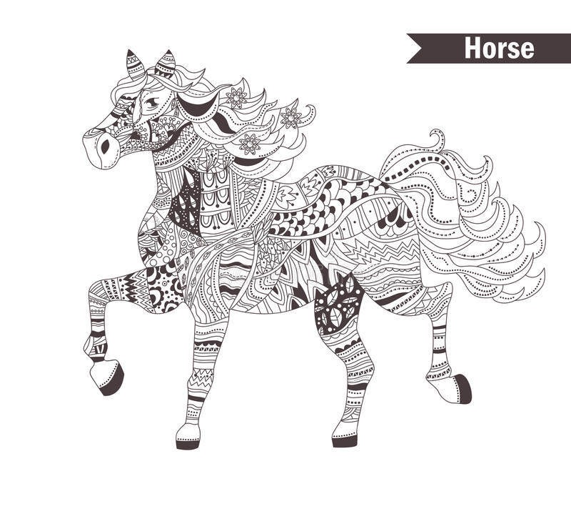 Royalty Free Vector Download Horse Coloring Book For Adult Stock
