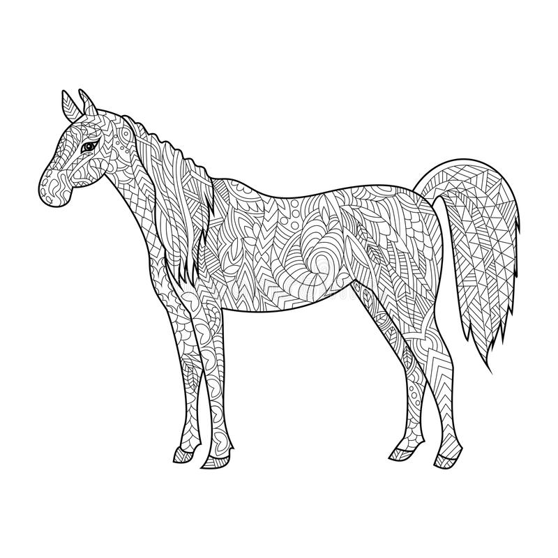 Horse Coloring Book For Adults Vector Stock Vector - Illustration of ...
