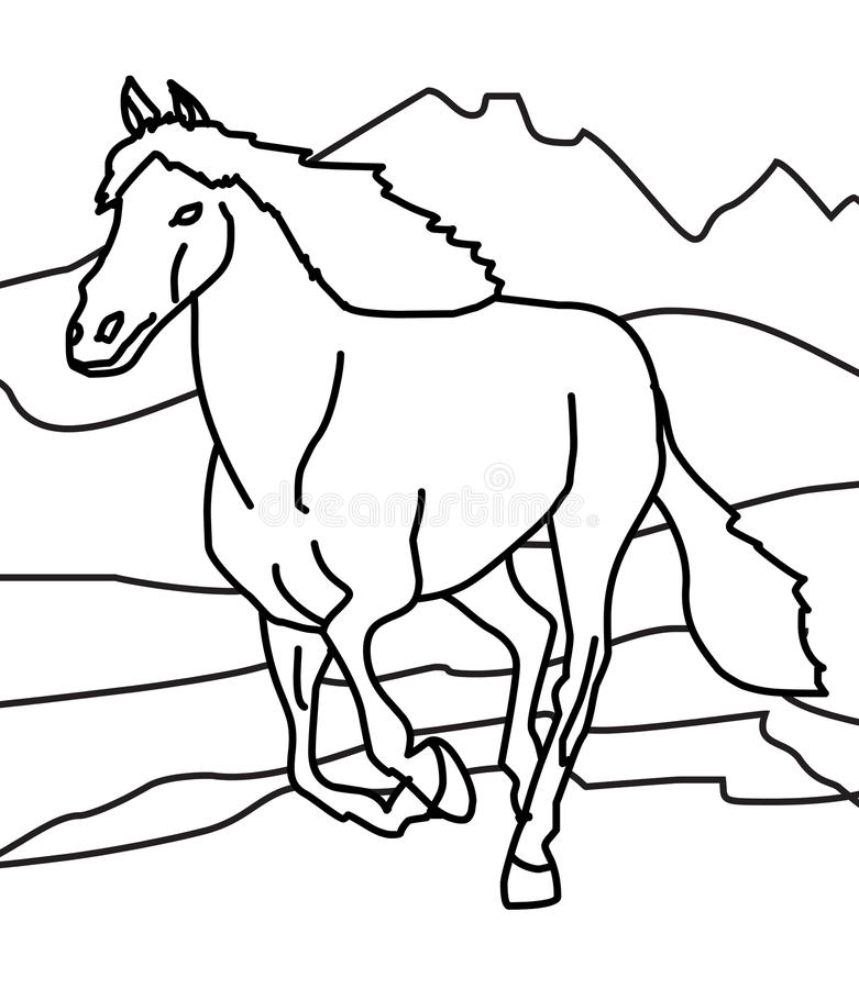 Horse coloring page stock illustration