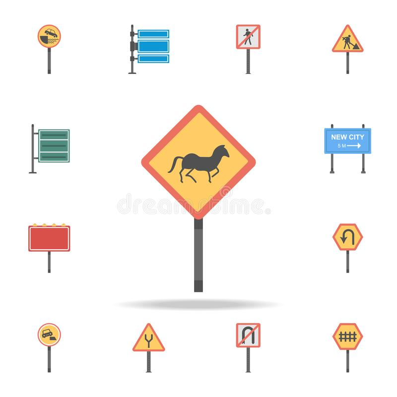 Horse crossing colored icon. Detailed set of color road sign icons. Premium graphic design. One of the collection icons for stock illustration