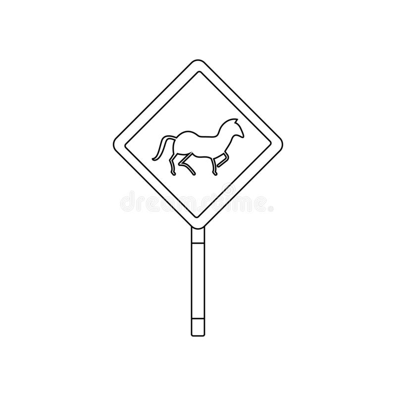 Horse crossing colored icon. Element of road signs and junctions for mobile concept and web apps icon. Outline, thin line icon for royalty free illustration