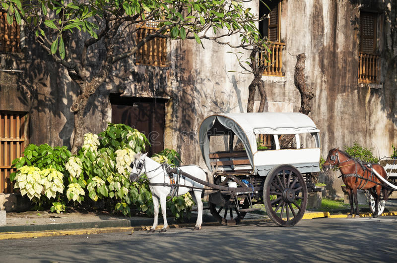 Horse Drawn Calesa, Manila - Philippines. Horse Drawn Calesas waiting for tourists in Intramuros, a historical part of Manila royalty free stock images