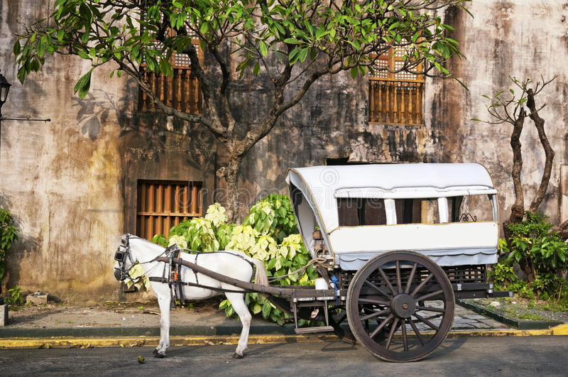 Horse Drawn Calesa, Manila - Philippines. Horse Drawn Calesa waiting for tourists in Intramuros, a historical part of Manila royalty free stock photography