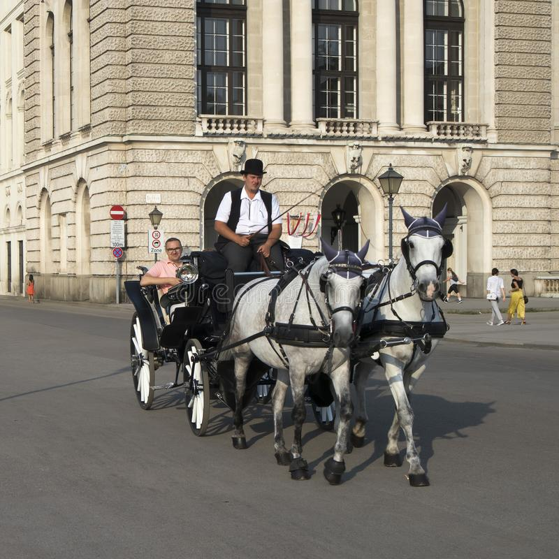 Horse - drawn carriage or Fiaker, popular tourist attraction, on Michaelerplatz and Hofburg Palace. VIENNA, AUSTRIA - 22.10.2019: Horse - drawn carriage or stock image