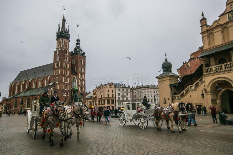 Horse drawn carriage in Rynek Glowny main square, Poland, stock photography