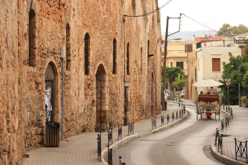 Horse drawn carriage in the street of chania stock image