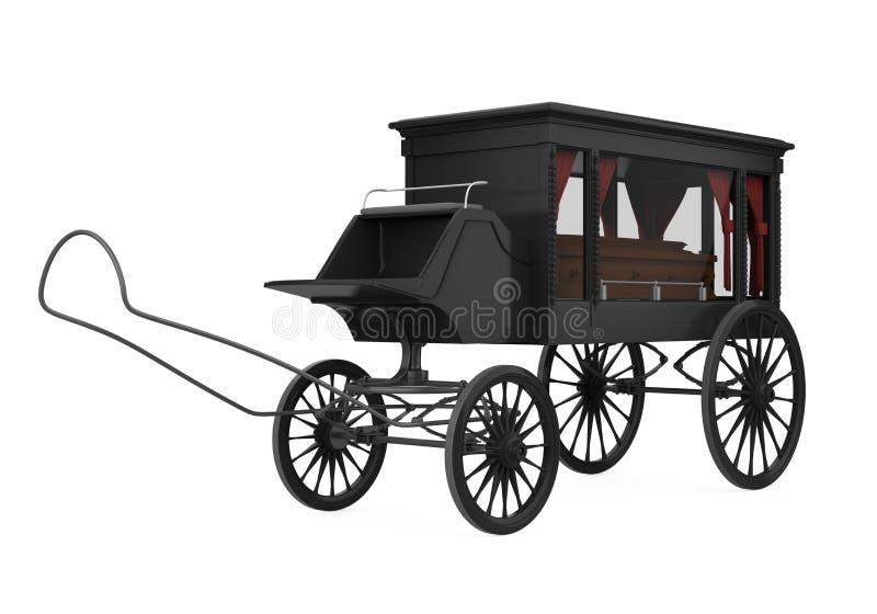 Horse Drawn Hearse Isolated stock illustration